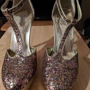 Carlos Santana Sparkle Glitter Platform Heels 9